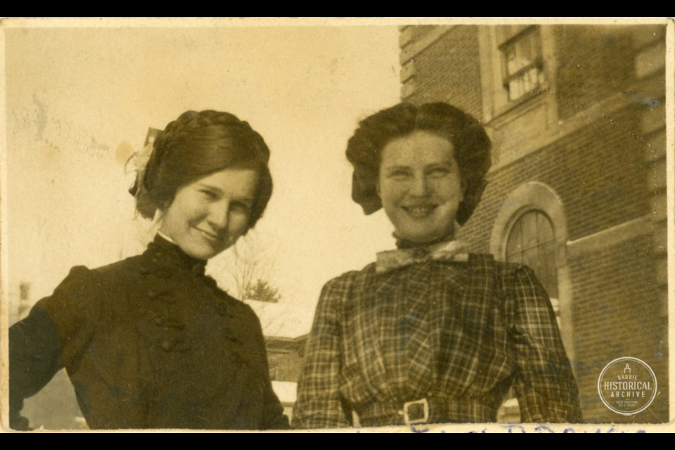 Barbara Currie and Inez Brown at Barrie Collegiate on Blake St., 1912. Photo courtesy of the Barrie Historical Archive.