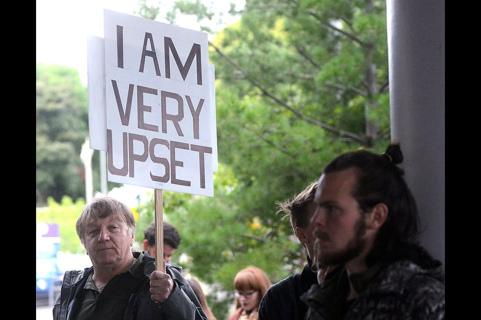 Roughly 250 people turned out for a rally outside Guelph City Hall Monday, Sept. 26, 2016, in favour of a motion by councillor James Gordon's motion seeking formal city opposition to Nestle Waters. Tony\Saxon/GuelphToday