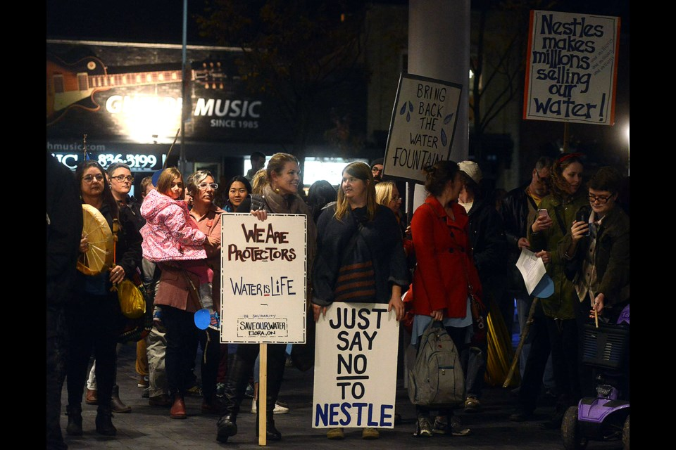 Anti-Nestlé  Waters protesters gather outside Guelph City Hall Monday, Nov. 7, 2016, prior to a special meeting of council on the water issue. Tony Saxon/GuelphToday