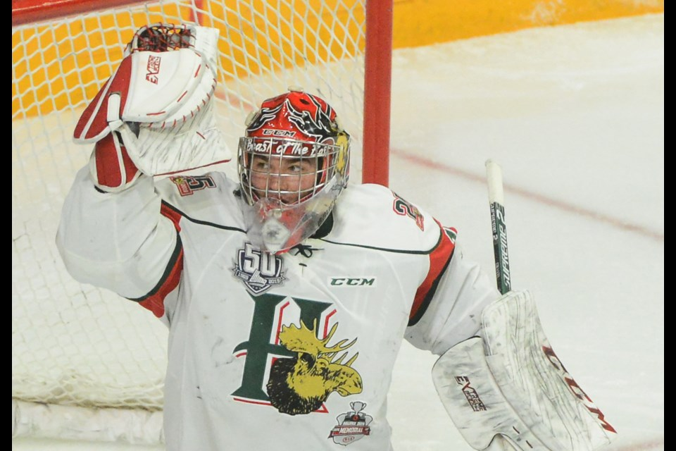 Alexis Gravel of the Halifax Mooseheads makes a glove save Wednesday at the Memorial Cup. Tony Saxon/GuelphToday