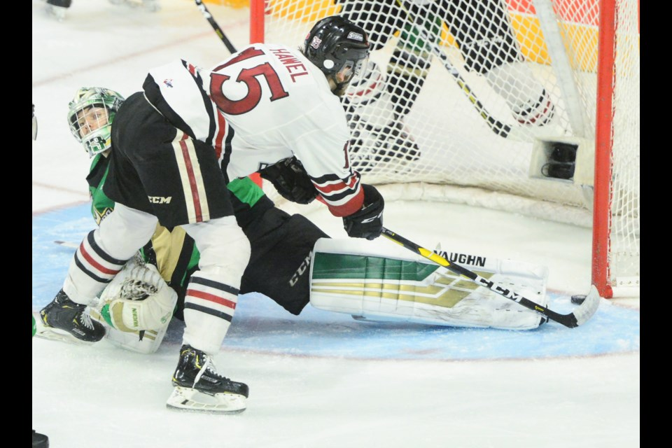 Liam Hawel looks to have a sure goal against Prince Albert Raiders goaltender Ian Scott but slid it through the crease Tuesday night at the Memorial Cup in Halifax. Tony Saxon/GuelphToday