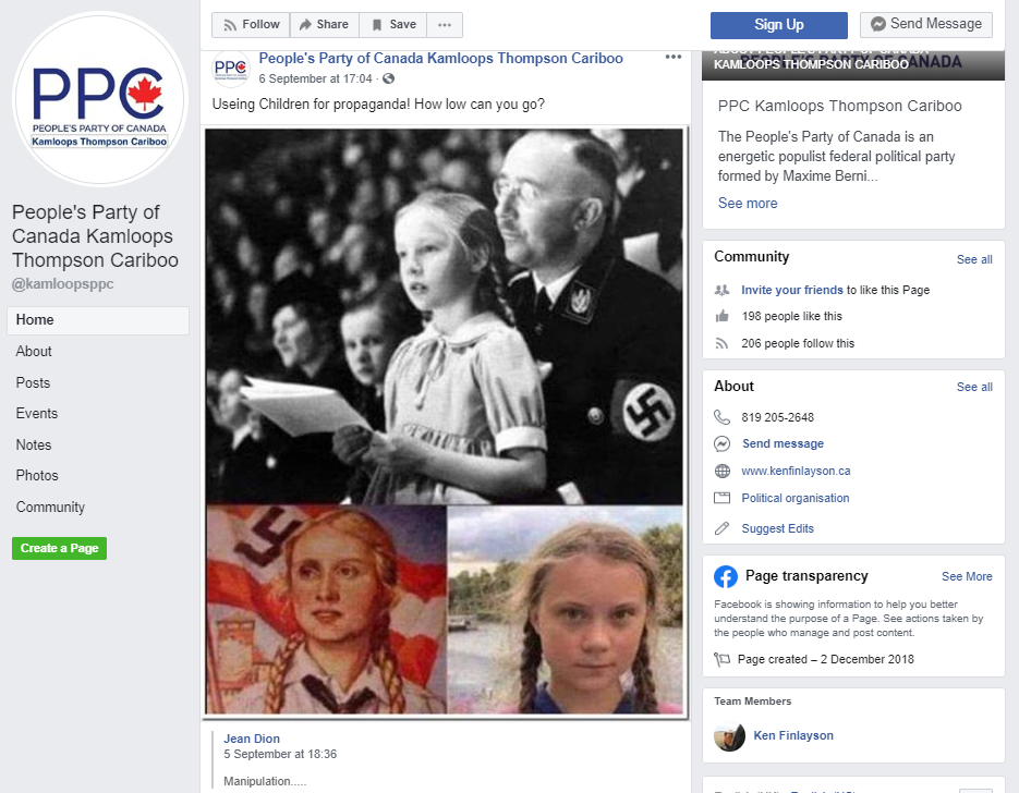 Kamloops PPC candidate unapologetic for Facebook post comparing climate activist to Nazi propaganda