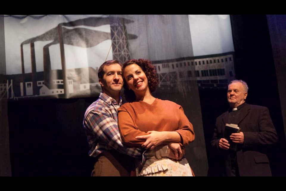 Jeff Schwager and Laura Caswell play Joe and Mary Laben with  Lee J. Campbell as Father Jimmy Tompkins in a scene from Eastern Front Theatre's Tompkinsville. (TIM KROCHAK / LocalXpress)