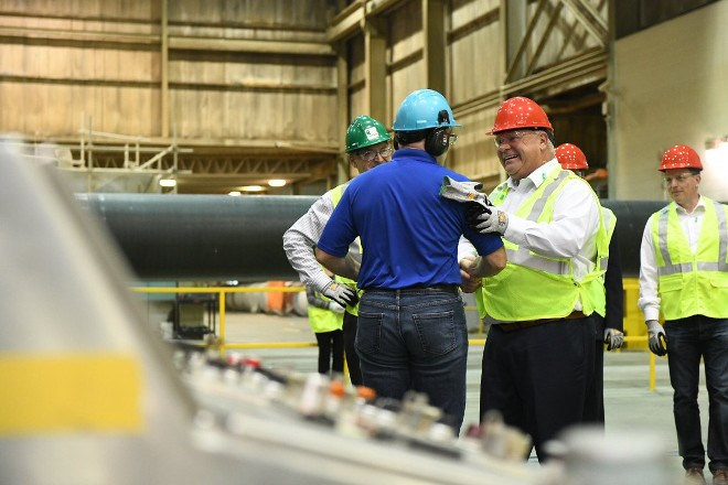 Premier Doug Ford and Natural Resources and Forestry Minister Jeff Yurek tour Resolute Forest Products in Thunder Bay. (Twitter)