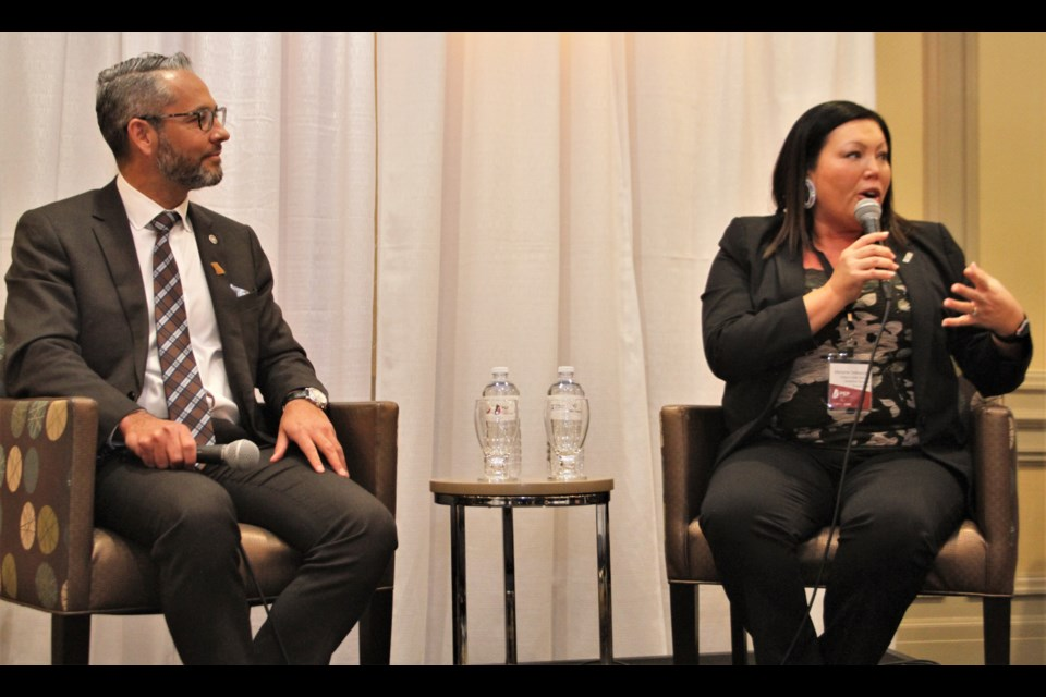 JP Gladu,  president and CEO of the Canadian Council for Aboriginal Business, and Melanie Debassige, executive director at Ontario First Nations Technical Services Corporation, held a fireside chat-style discussion on economic reconciliation on day one of the  Procurement, Employment and Partnership Conference and Tradeshow in Sudbury. (Karen McKinley photo)