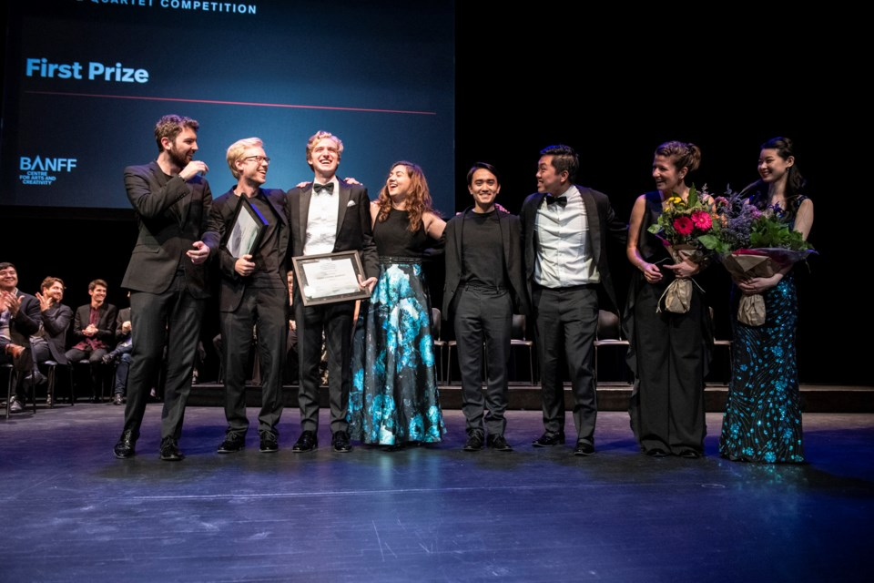The UK's Marmen Quartet along with the Viano String Quartet from Canada and USA, both take home the first prize in at the Banff International String Quartet Competition. BANFF CENTRE SUBMITTED PHOTO