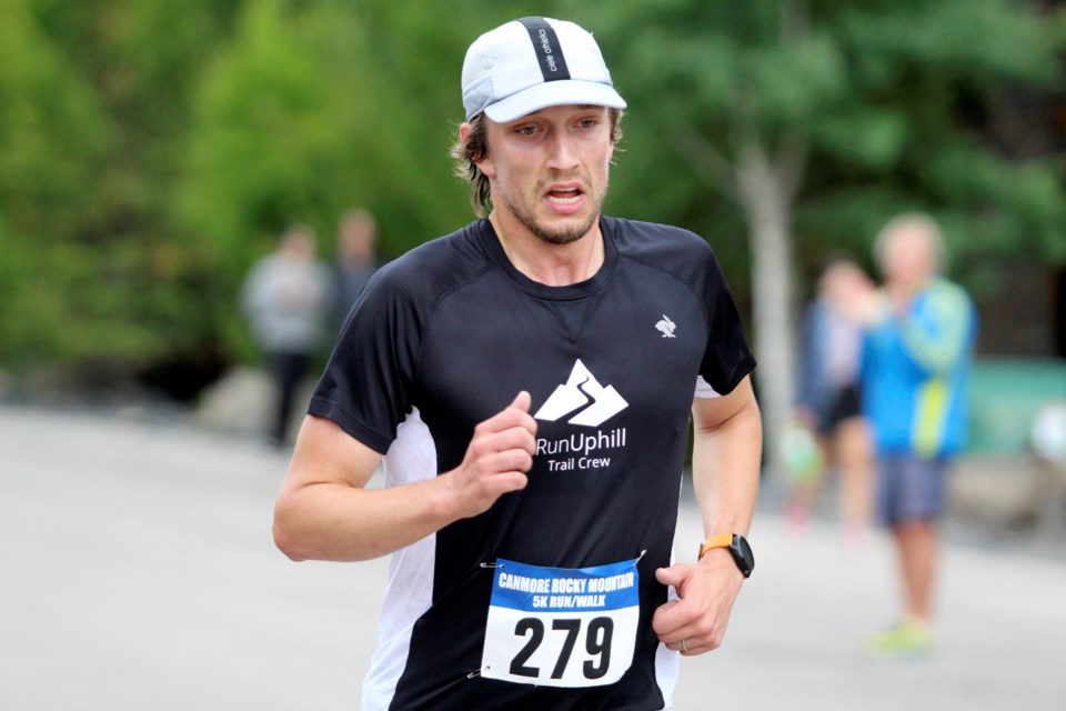 Canmore's Joël Desgreniers finished first in the 5-km race at the Rocky Mountain Half Marathon, 10 K & 5 K. He crossed the line at a time of 17:46.5. Jordan Small RMO Photo