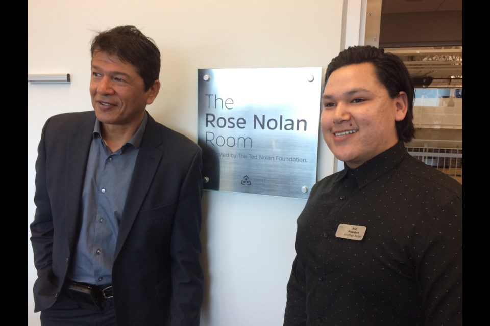 Ted Nolan and nephew Jonathan Nolan, president of Sault College's Native Student Council, are pictured at the dedication of the Rose Nolan Health and Wellness Boardroom on Monday, March 20, 2017. David Helwig/SooToday.
